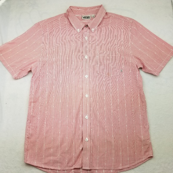 Vans Other - Vans Short Sleeve Pink Button Up Shirt Large